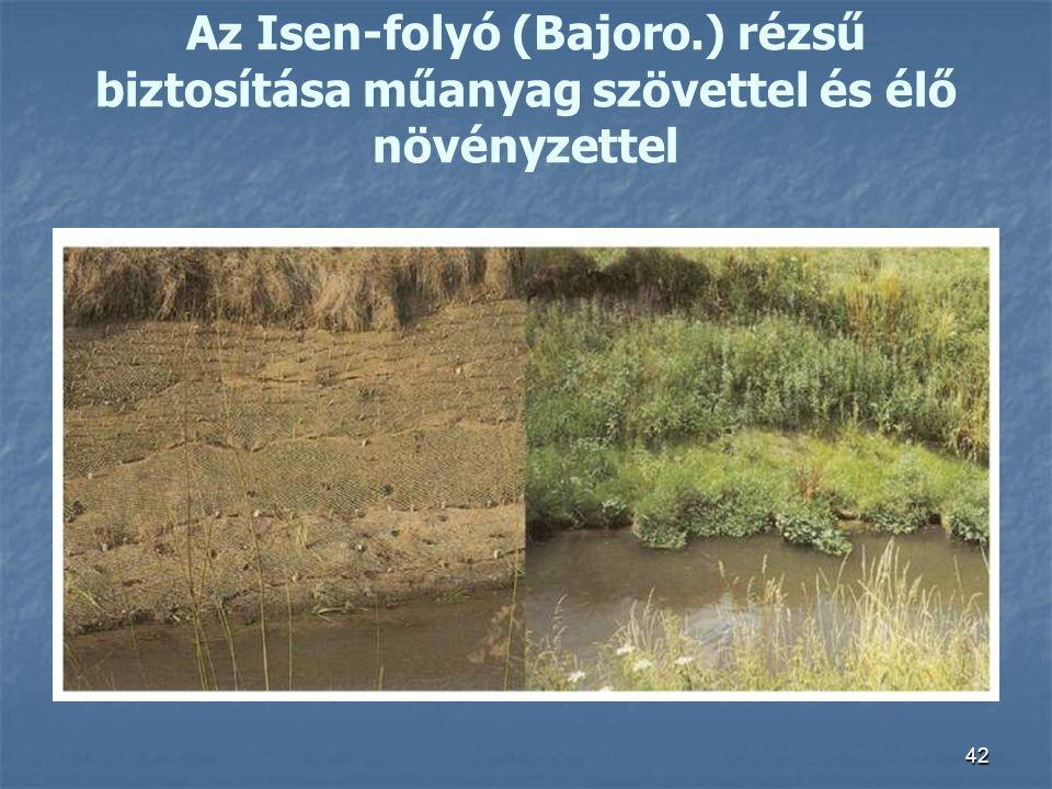42 Az Isen-folyó (Bajoro.) rézsű biztosítása műanyag szövettel és élő növényzettel
