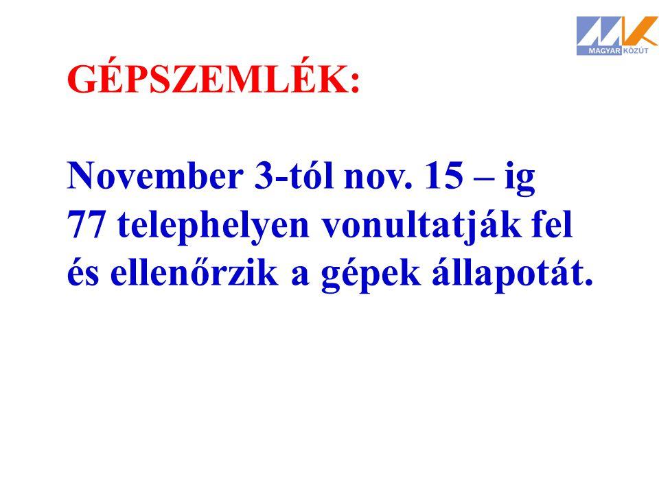 GÉPSZEMLÉK: November 3-tól nov. 15 – ig 77 telephelyen vonultatják fel és ellenőrzik a gépek állapotát.