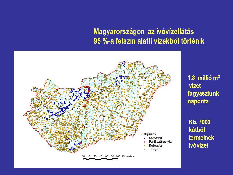 Magyarországon az ivóvízellátás 95 %-a felszín alatti vizekből történik Kb. 7000 kútból termelnek ivóvizet 1,8 millió m 3 vizet fogyasztunk naponta