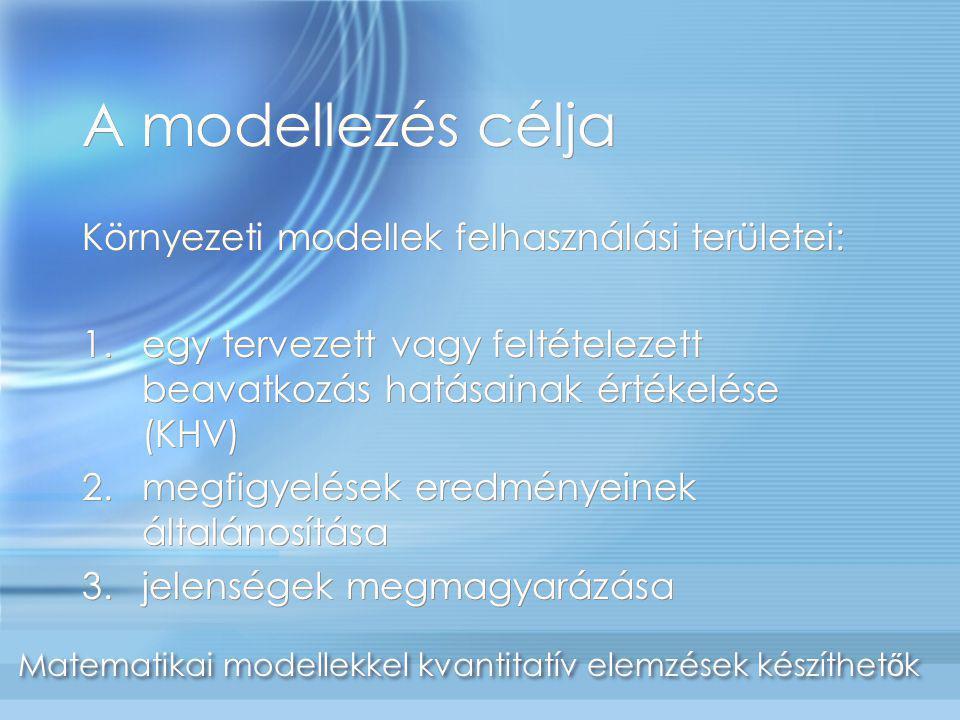 A modellezés célja Környezeti modellek felhasználási területei: 1.egy tervezett vagy feltételezett beavatkozás hatásainak értékelése (KHV) 2.megfigyel