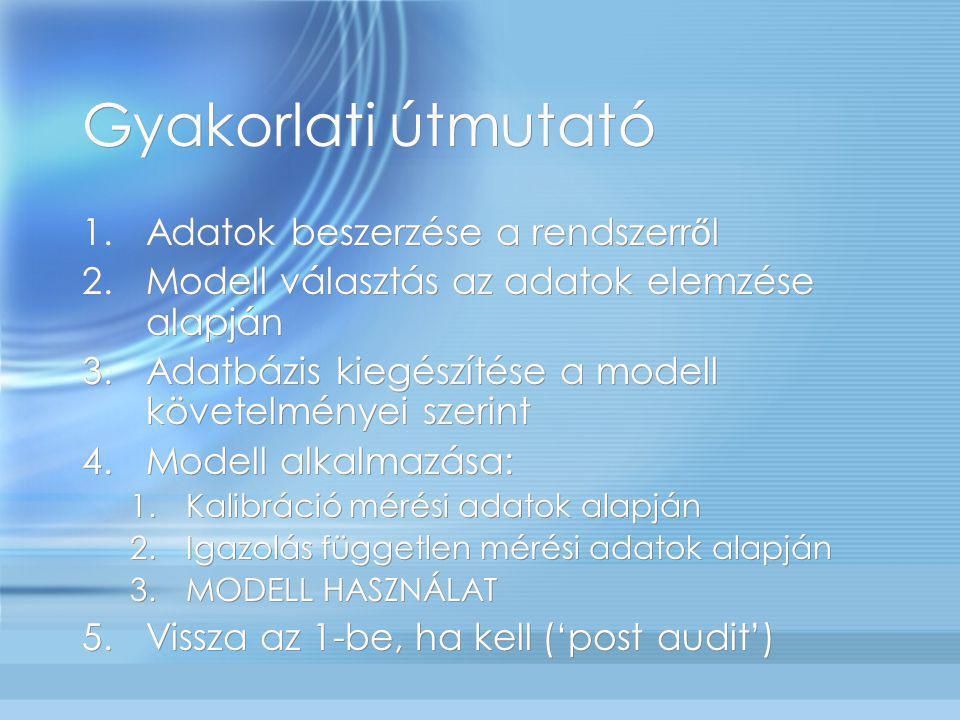 Gyakorlati útmutató 1.Adatok beszerzése a rendszerr ő l 2.Modell választás az adatok elemzése alapján 3.Adatbázis kiegészítése a modell követelményei