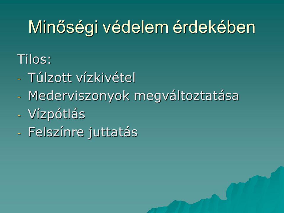 Minőségi védelem érdekében Tilos: - Túlzott vízkivétel - Mederviszonyok megváltoztatása - Vízpótlás - Felszínre juttatás