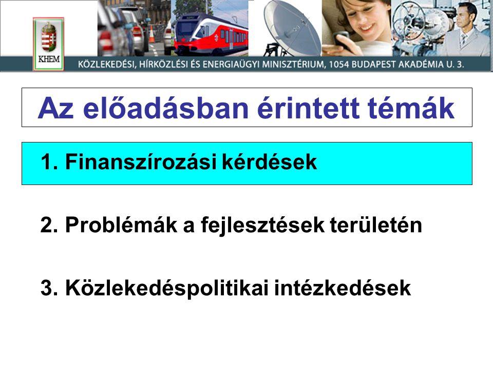 Az előadásban érintett témák 1.Finanszírozási kérdések 2.Problémák a fejlesztések területén 3.Közlekedéspolitikai intézkedések