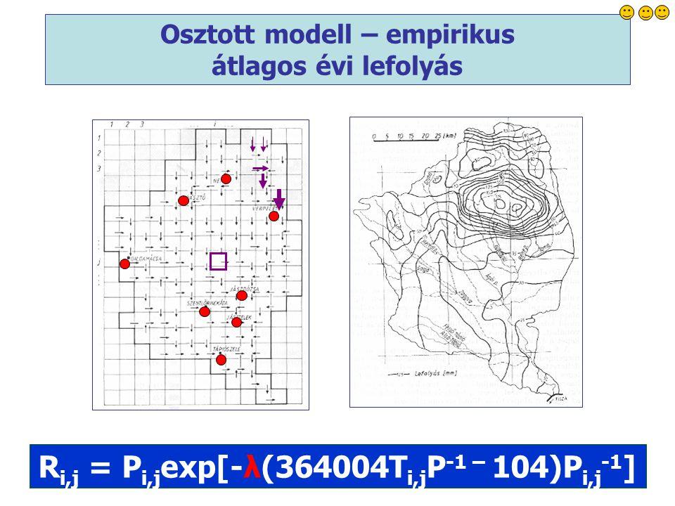 11 R i,j = P i,j exp[-λ(364004T i,j P -1 – 104)P i,j -1 ] Osztott modell – empirikus átlagos évi lefolyás