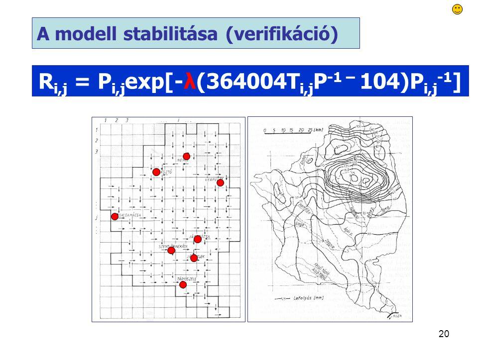 20 A modell stabilitása (verifikáció) R i,j = P i,j exp[-λ(364004T i,j P -1 – 104)P i,j -1 ]