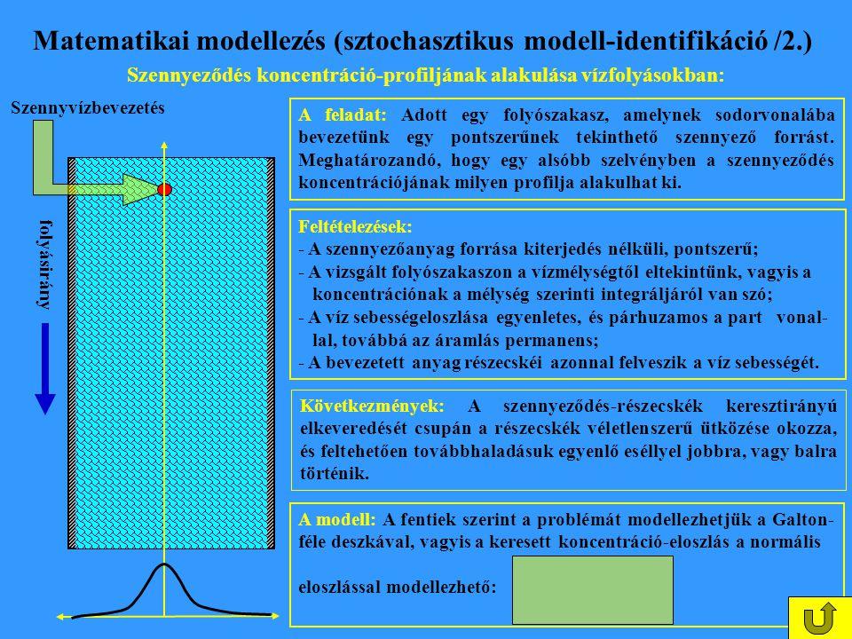 Matematikai modellezés (sztochasztikus modell-identifikáció /2.) Szennyeződés koncentráció-profiljának alakulása vízfolyásokban: A feladat: Adott egy