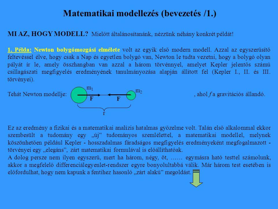 Matematikai modellezés (bevezetés /1.) MI AZ, HOGY MODELL? Mielőtt általánosítanánk, nézzünk néhány konkrét példát! 1. Példa: Newton bolygómozgási elm