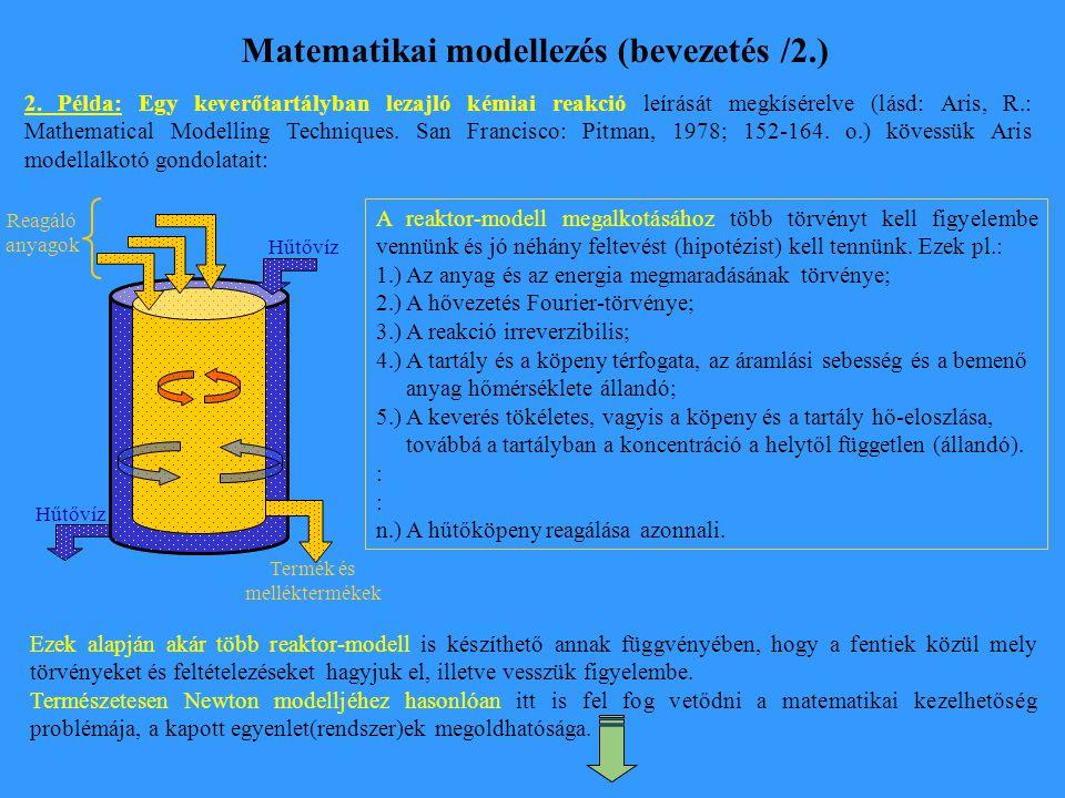 Matematikai modellezés (bevezetés /2.) 2. Példa: Egy keverőtartályban lezajló kémiai reakció leírását megkísérelve (lásd: Aris, R.: Mathematical Model
