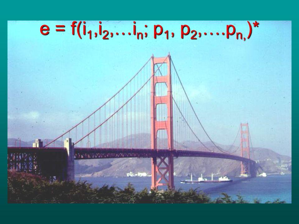 e = f(i 1,i 2,…i n ; p 1, p 2,….p n, )*