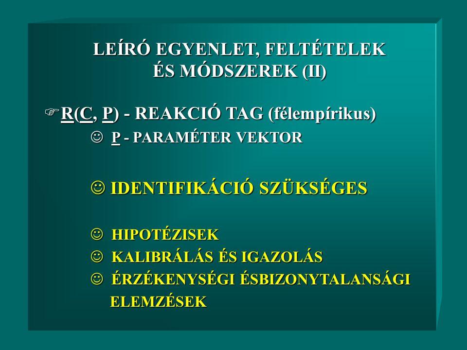  C - KONCENTRÁCIÓ VEKTOR  HIDRODINAMIKAI EGYENLETEK  KEZDETI- ÉS PEREMFELTÉTELEK LEÍRÓ EGYENLET, FELTÉTELEK ÉS MÓDSZEREK (I) C = [C 1, … C i, … C n