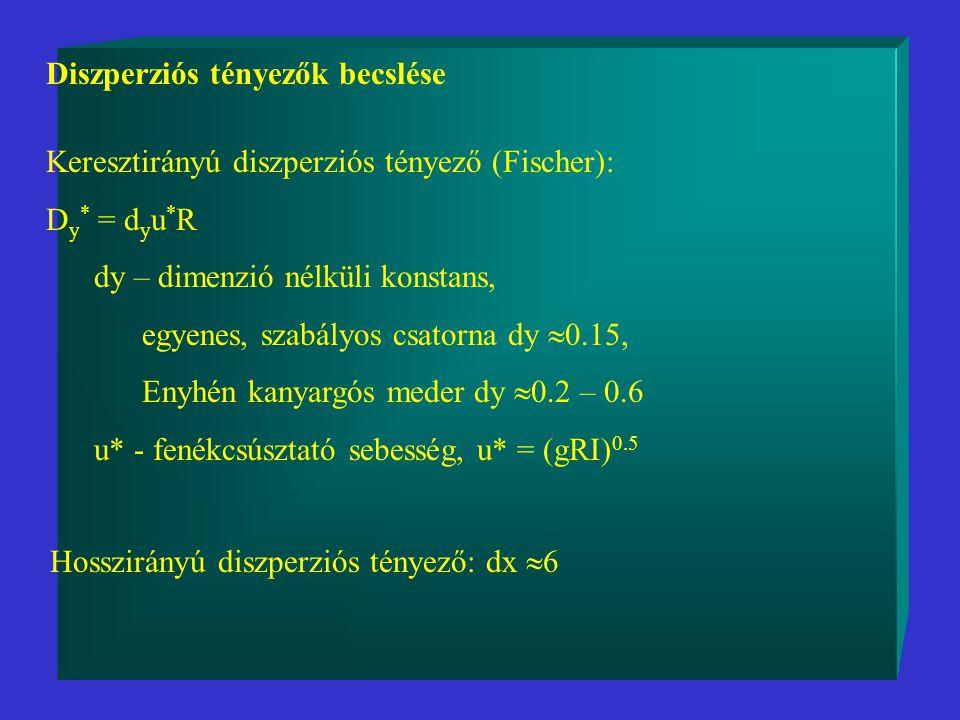 Diszperziós tényezők becslése Keresztirányú diszperziós tényező (Fischer): D y * = d y u * R dy – dimenzió nélküli konstans, egyenes, szabályos csatorna dy  0.15, Enyhén kanyargós meder dy  0.2 – 0.6 u* - fenékcsúsztató sebesség, u* = (gRI) 0.5 Hosszirányú diszperziós tényező: dx  6
