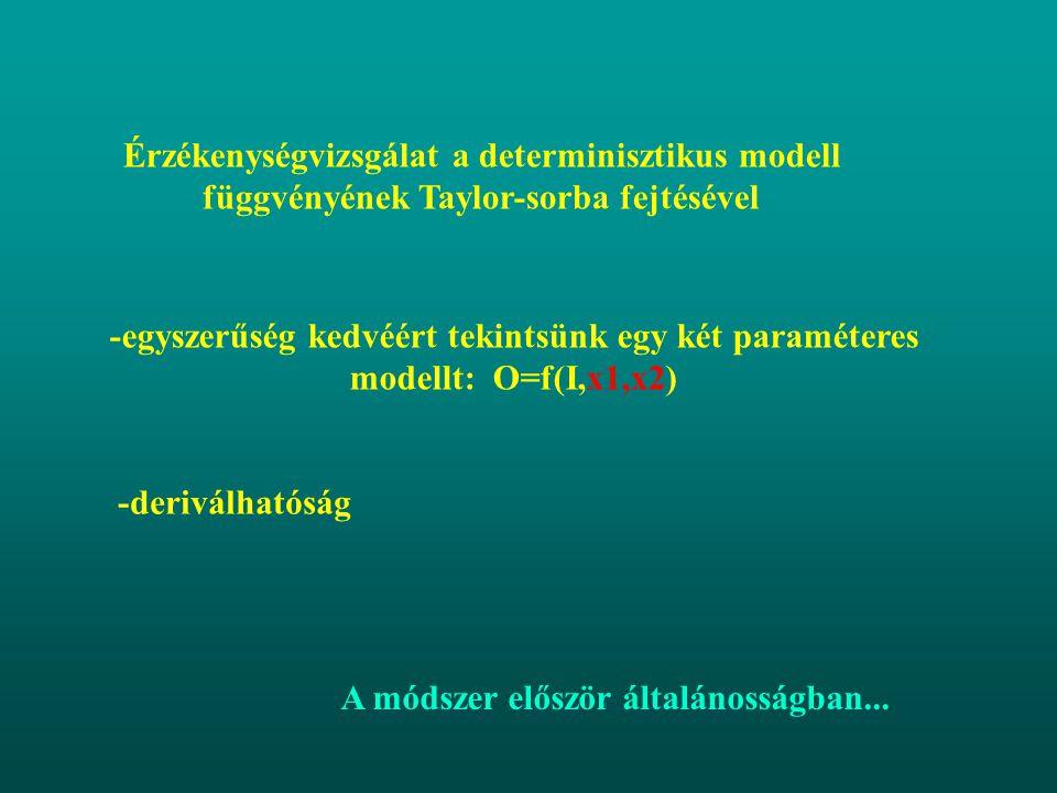 Érzékenységvizsgálat a determinisztikus modell függvényének Taylor-sorba fejtésével -egyszerűség kedvéért tekintsünk egy két paraméteres modellt: O=f(