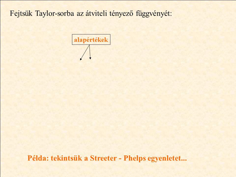 Fejtsük Taylor-sorba az átviteli tényező függvényét: alapértékek Példa: tekintsük a Streeter - Phelps egyenletet...