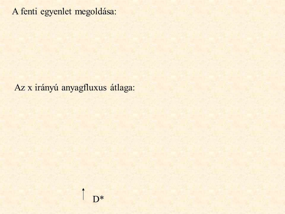 A fenti egyenlet megoldása: Az x irányú anyagfluxus átlaga: D*