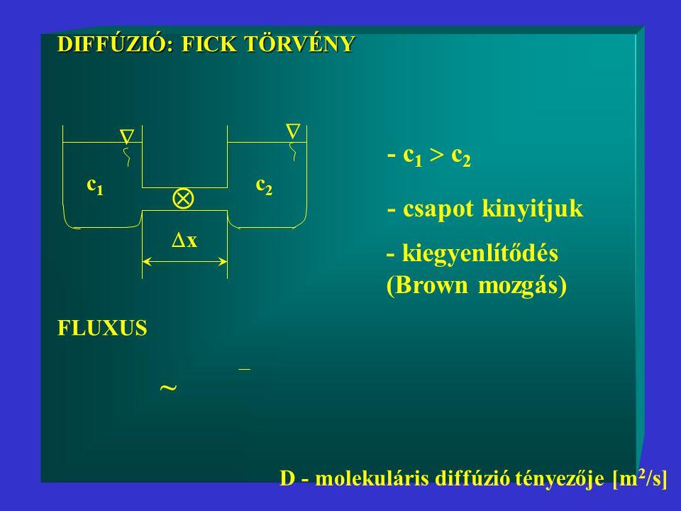 DIFFÚZIÓ: FICK TÖRVÉNY DIFFÚZIÓ: FICK TÖRVÉNY c1c1 c2c2  xx   - c 1  c 2 - csapot kinyitjuk - kiegyenlítődés (Brown mozgás) FLUXUS D - molekuláris diffúzió tényezője [m 2 /s] ~