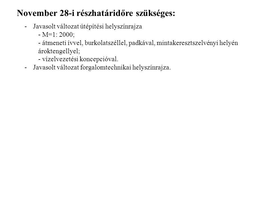 November 28-i részhatáridőre szükséges: -Javasolt változat útépítési helyszínrajza - M=1: 2000; - átmeneti ívvel, burkolatszéllel, padkával, mintakere