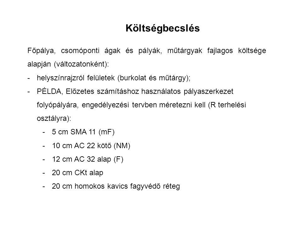 Főpálya, csomóponti ágak és pályák, műtárgyak fajlagos költsége alapján (változatonként): -helyszínrajzról felületek (burkolat és műtárgy); -PÉLDA, Előzetes számításhoz használatos pályaszerkezet folyópályára, engedélyezési tervben méretezni kell (R terhelési osztályra): -5 cm SMA 11 (mF) -10 cm AC 22 kötő (NM) -12 cm AC 32 alap (F) -20 cm CKt alap -20 cm homokos kavics fagyvédő réteg Költségbecslés