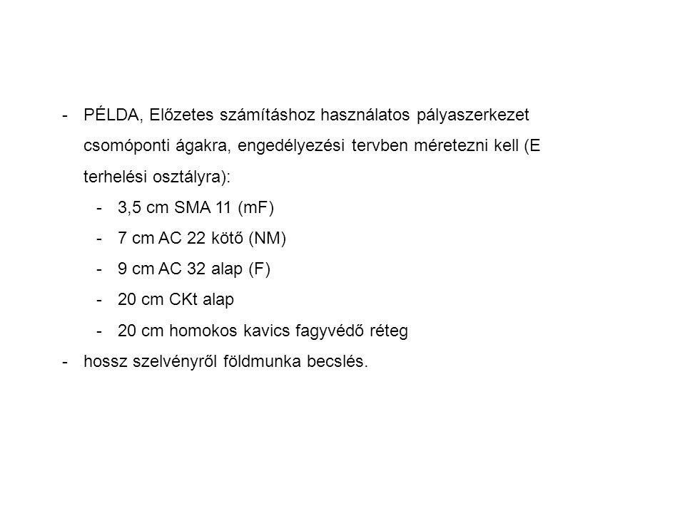 -PÉLDA, Előzetes számításhoz használatos pályaszerkezet csomóponti ágakra, engedélyezési tervben méretezni kell (E terhelési osztályra): -3,5 cm SMA 11 (mF) -7 cm AC 22 kötő (NM) -9 cm AC 32 alap (F) -20 cm CKt alap -20 cm homokos kavics fagyvédő réteg -hossz szelvényről földmunka becslés.