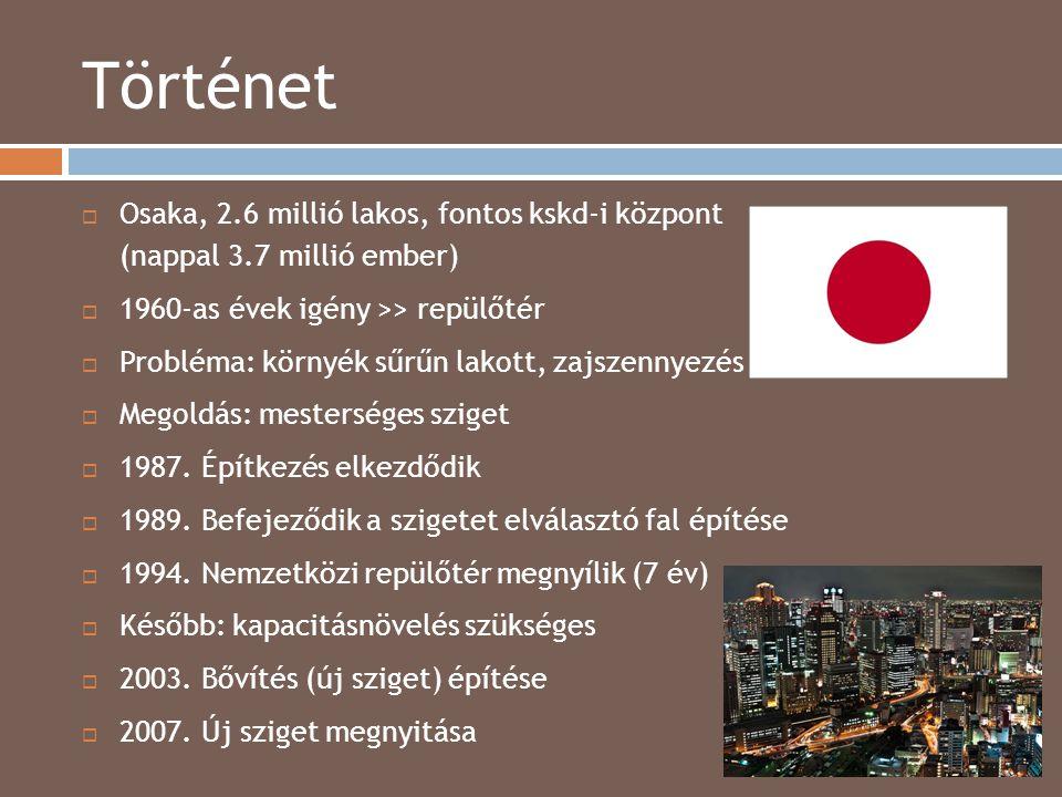 Történet 2014.04.15.  Osaka, 2.6 millió lakos, fontos kskd-i központ (nappal 3.7 millió ember)  1960-as évek igény >> repülőtér  Probléma: környék