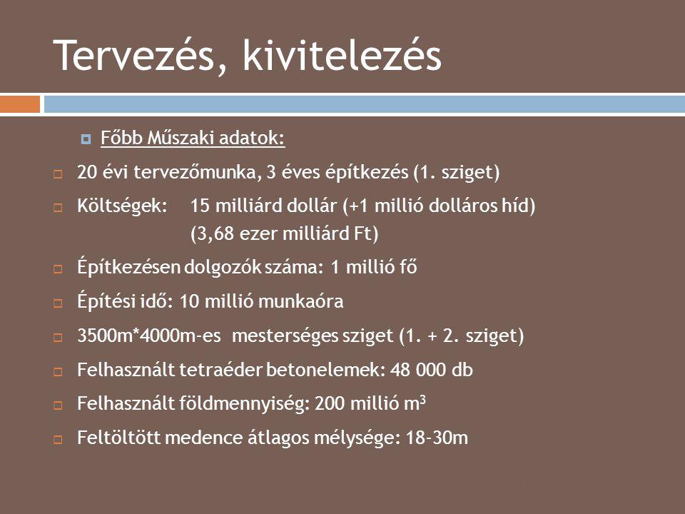 Tervezés, kivitelezés 2014.04.15.  Főbb Műszaki adatok:  20 évi tervezőmunka, 3 éves építkezés (1. sziget)  Költségek: 15 milliárd dollár (+1 milli