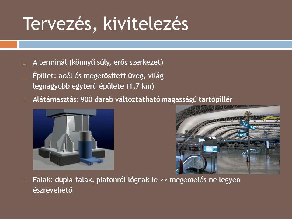 Tervezés, kivitelezés 2014.04.15.  A terminál (könnyű súly, erős szerkezet)  Épület: acél és megerősített üveg, világ legnagyobb egyterű épülete (1,