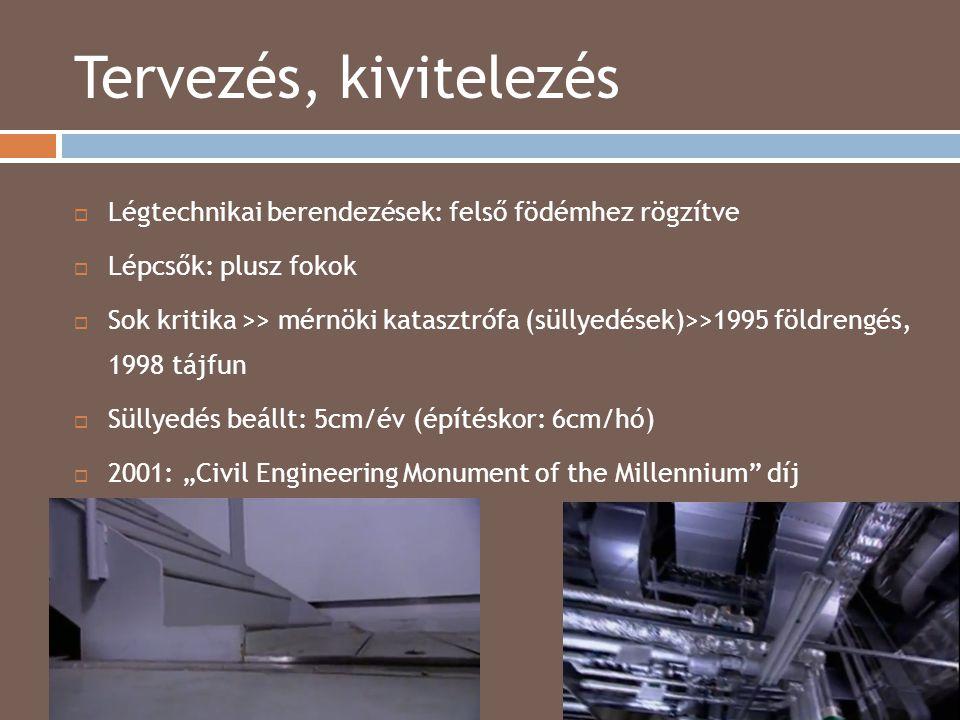 Tervezés, kivitelezés 2014.04.15.  Légtechnikai berendezések: felső födémhez rögzítve  Lépcsők: plusz fokok  Sok kritika >> mérnöki katasztrófa (sü