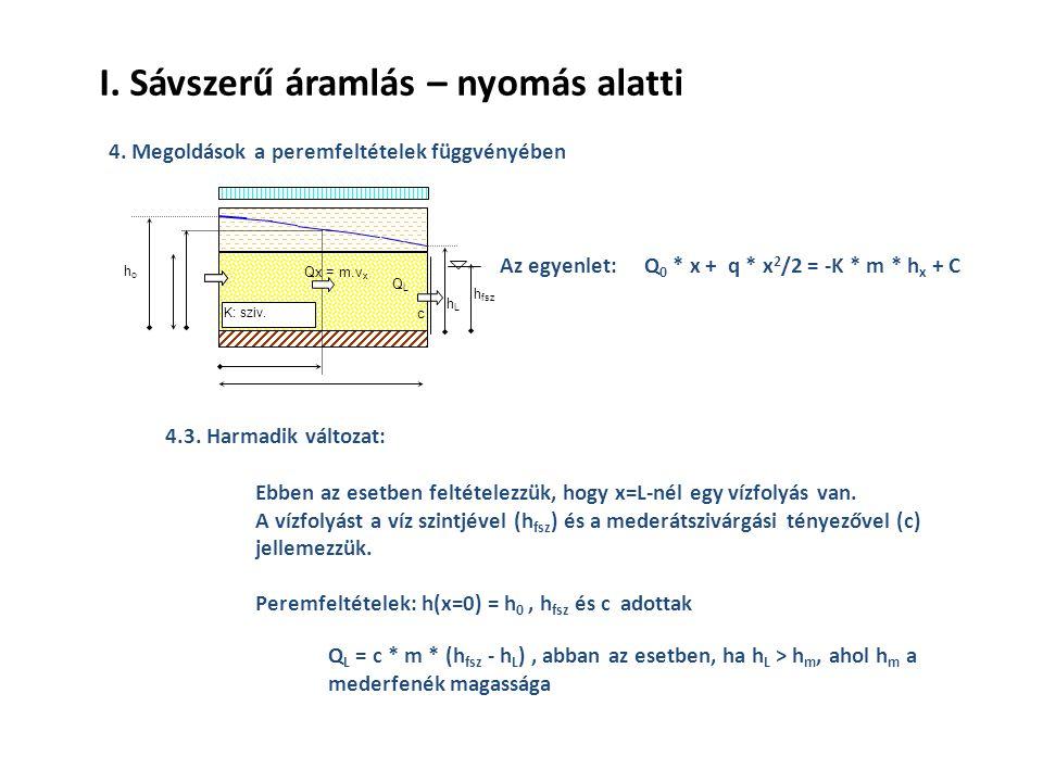 I. Sávszerű áramlás – nyomás alatti 4. Megoldások a peremfeltételek függvényében 4.3.