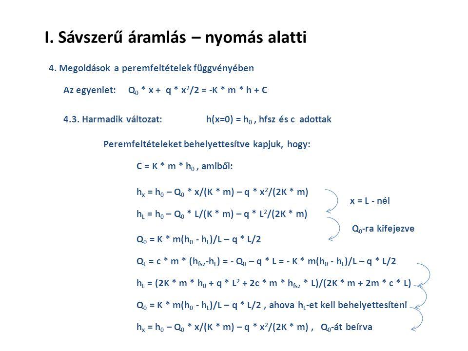 I.Sávszerű áramlás – nyomás alatti 4. Megoldások a peremfeltételek függvényében 4.3.