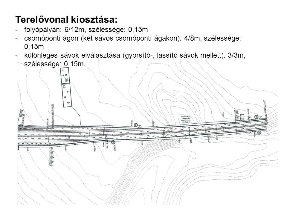 Terelővonal kiosztása: -folyópályán: 6/12m, szélessége: 0,15m -csomóponti ágon (két sávos csomóponti ágakon): 4/8m, szélessége: 0,15m -különleges sávo