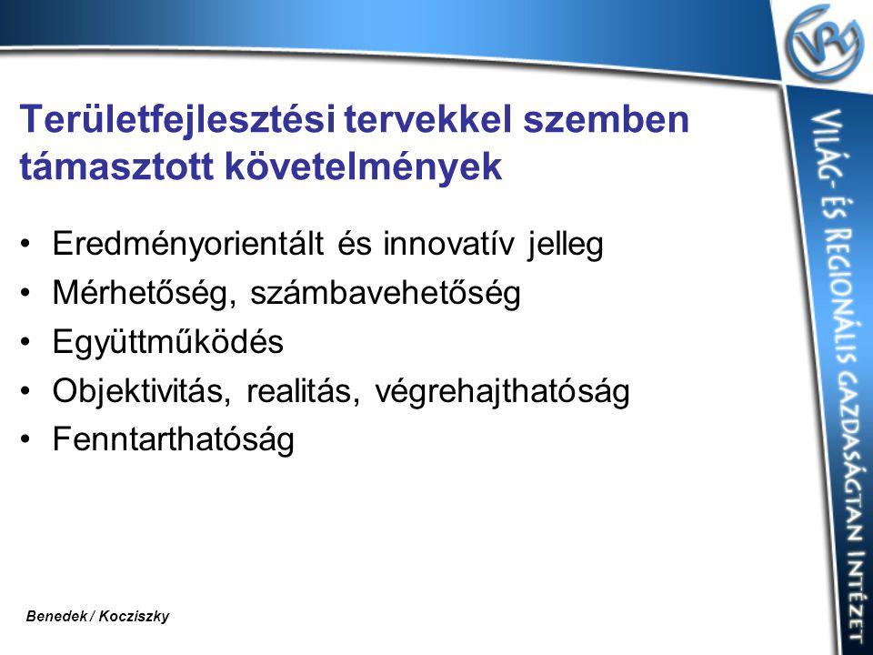 Területfejlesztési tervekkel szemben támasztott követelmények Eredményorientált és innovatív jelleg Mérhetőség, számbavehetőség Együttműködés Objektivitás, realitás, végrehajthatóság Fenntarthatóság Benedek / Kocziszky