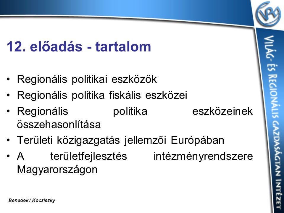 12. előadás - tartalom Regionális politikai eszközök Regionális politika fiskális eszközei Regionális politika eszközeinek összehasonlítása Területi k