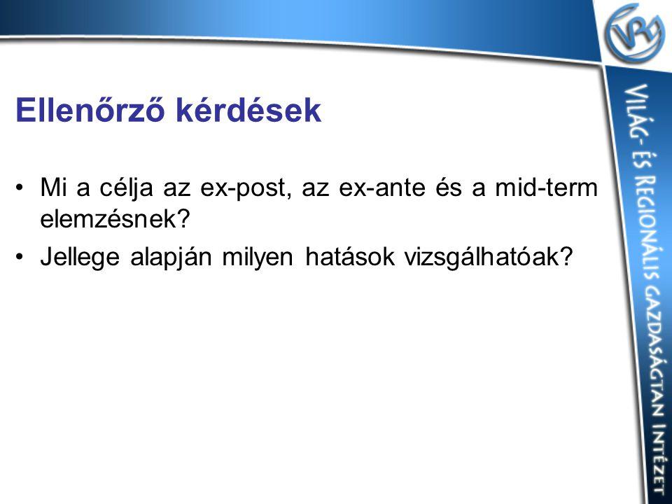 Ellenőrző kérdések Mi a célja az ex-post, az ex-ante és a mid-term elemzésnek.