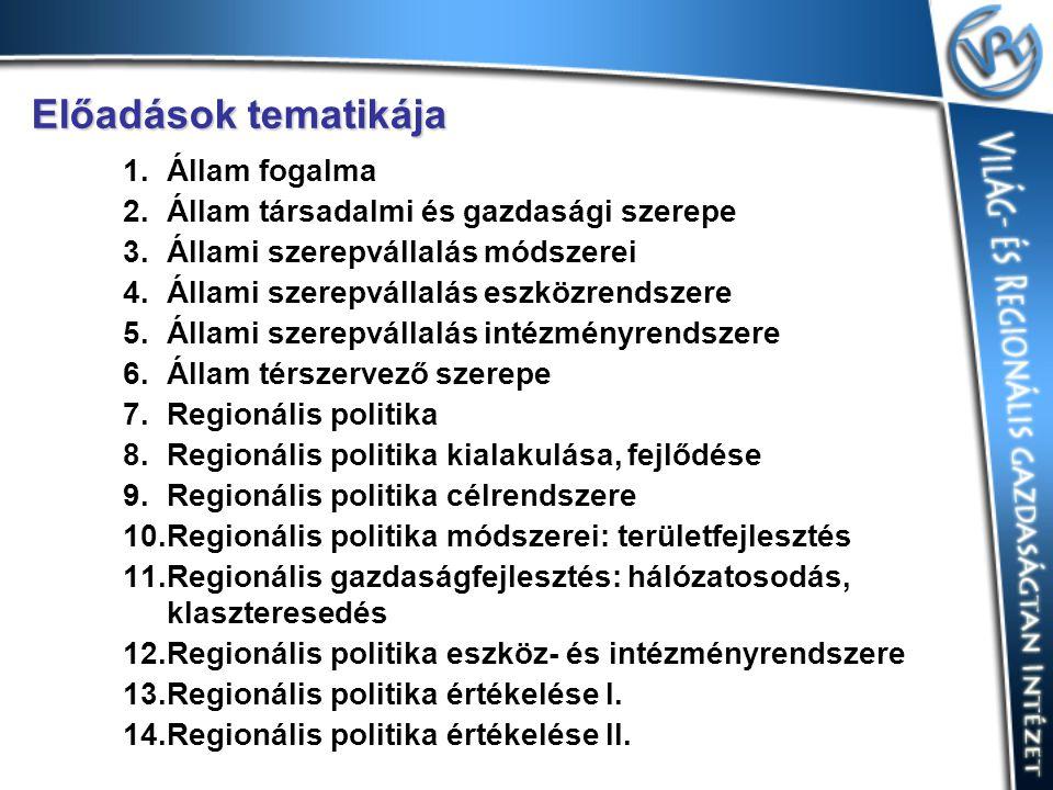 Előadások tematikája 1.Állam fogalma 2.Állam társadalmi és gazdasági szerepe 3.Állami szerepvállalás módszerei 4.Állami szerepvállalás eszközrendszere 5.Állami szerepvállalás intézményrendszere 6.Állam térszervező szerepe 7.Regionális politika 8.Regionális politika kialakulása, fejlődése 9.Regionális politika célrendszere 10.Regionális politika módszerei: területfejlesztés 11.Regionális gazdaságfejlesztés: hálózatosodás, klaszteresedés 12.Regionális politika eszköz- és intézményrendszere 13.Regionális politika értékelése I.