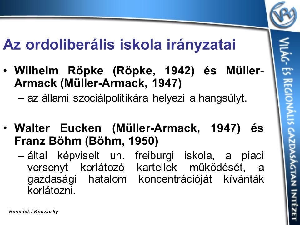 Az ordoliberális iskola irányzatai Wilhelm Röpke (Röpke, 1942) és Müller- Armack (Müller-Armack, 1947) –az állami szociálpolitikára helyezi a hangsúlyt.