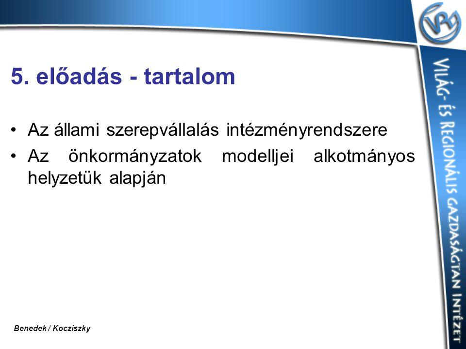 5. előadás - tartalom Az állami szerepvállalás intézményrendszere Az önkormányzatok modelljei alkotmányos helyzetük alapján Benedek / Kocziszky