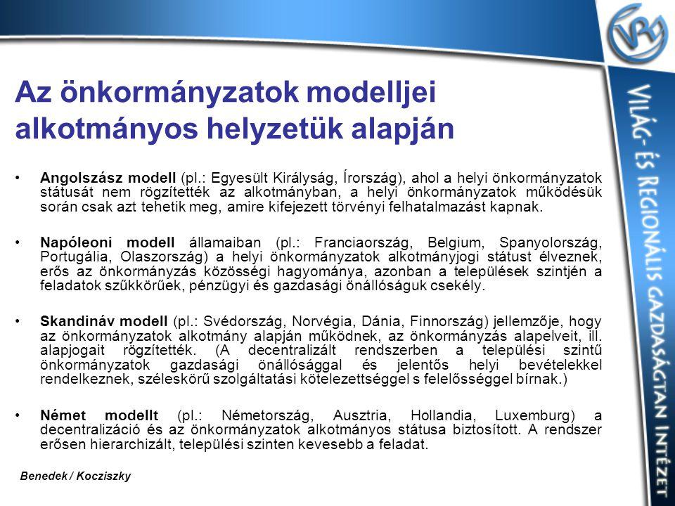 Az önkormányzatok modelljei alkotmányos helyzetük alapján Angolszász modell (pl.: Egyesült Királyság, Írország), ahol a helyi önkormányzatok státusát
