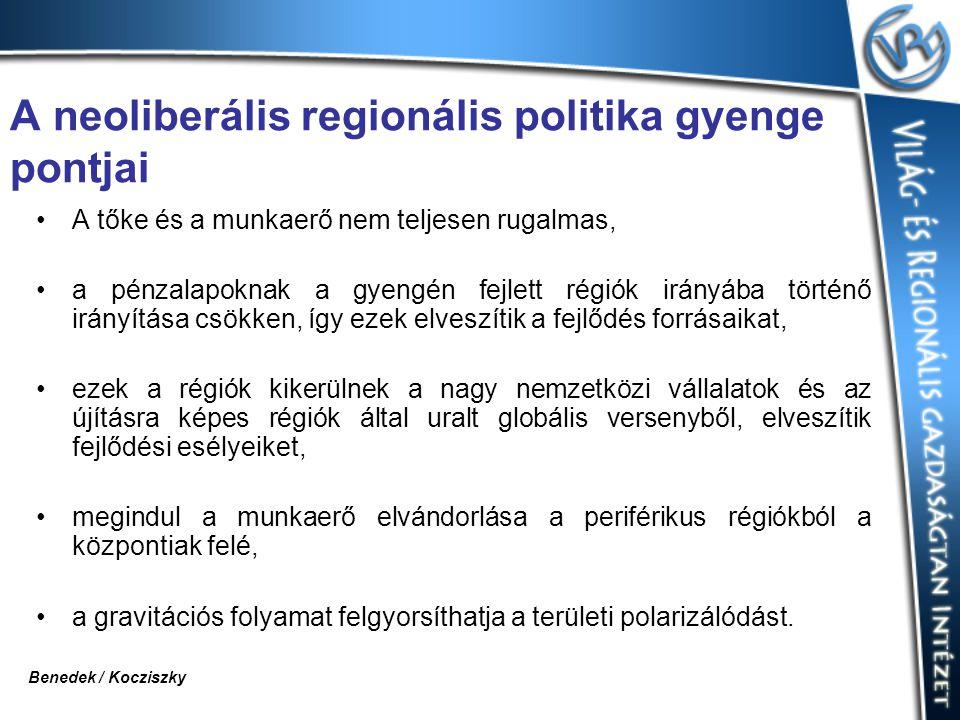 A neoliberális regionális politika gyenge pontjai A tőke és a munkaerő nem teljesen rugalmas, a pénzalapoknak a gyengén fejlett régiók irányába történő irányítása csökken, így ezek elveszítik a fejlődés forrásaikat, ezek a régiók kikerülnek a nagy nemzetközi vállalatok és az újításra képes régiók által uralt globális versenyből, elveszítik fejlődési esélyeiket, megindul a munkaerő elvándorlása a periférikus régiókból a központiak felé, a gravitációs folyamat felgyorsíthatja a területi polarizálódást.