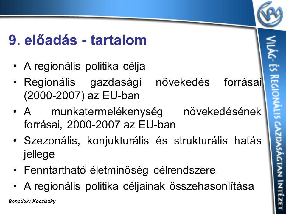 9. előadás - tartalom A regionális politika célja Regionális gazdasági növekedés forrásai (2000-2007) az EU-ban A munkatermelékenység növekedésének fo