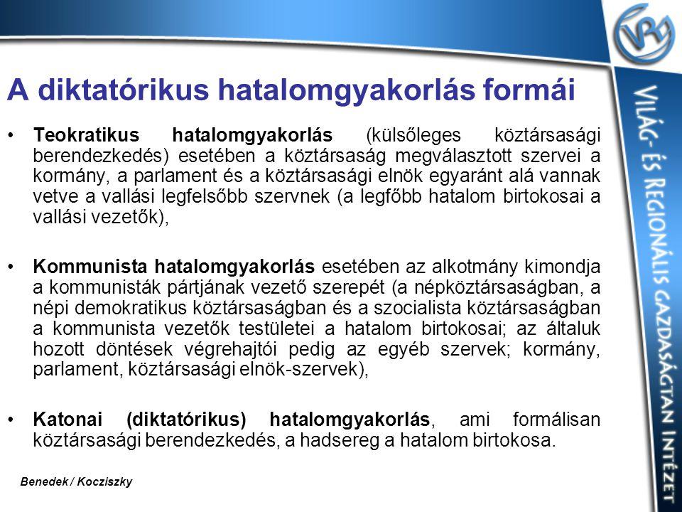 A diktatórikus hatalomgyakorlás formái Teokratikus hatalomgyakorlás (külsőleges köztársasági berendezkedés) esetében a köztársaság megválasztott szerv