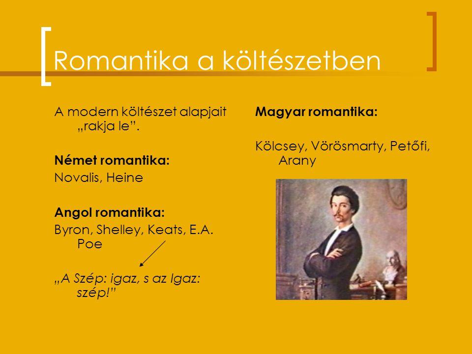 """Romantika a költészetben A modern költészet alapjait """"rakja le ."""