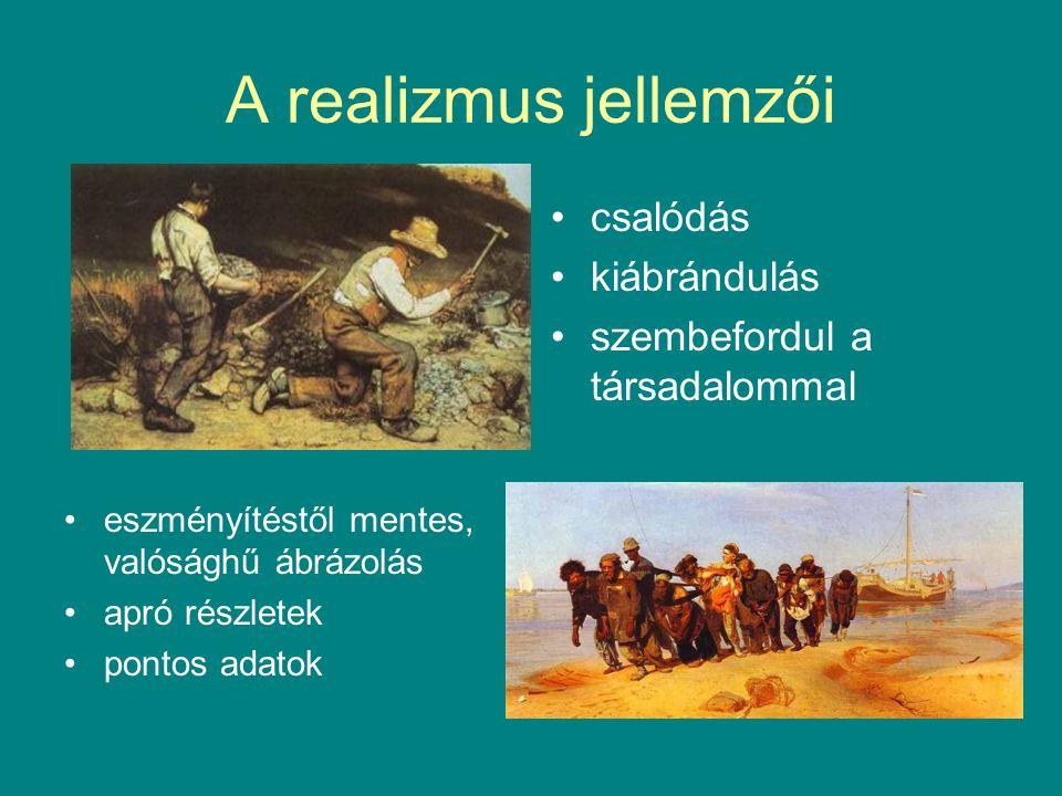 Realizmus az irodalomban lélekábrázolás tipikus hősök és tipikus környezet tárgyilagos, higgadt részletezés társadalmi problémák bemutatása (kritikai realizmus)