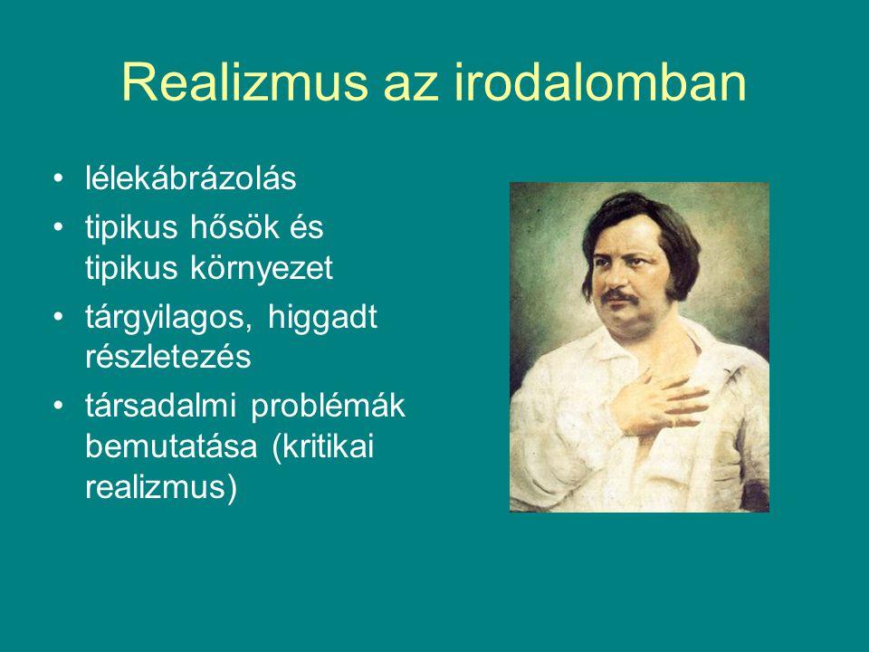 Realizmus az irodalomban lélekábrázolás tipikus hősök és tipikus környezet tárgyilagos, higgadt részletezés társadalmi problémák bemutatása (kritikai