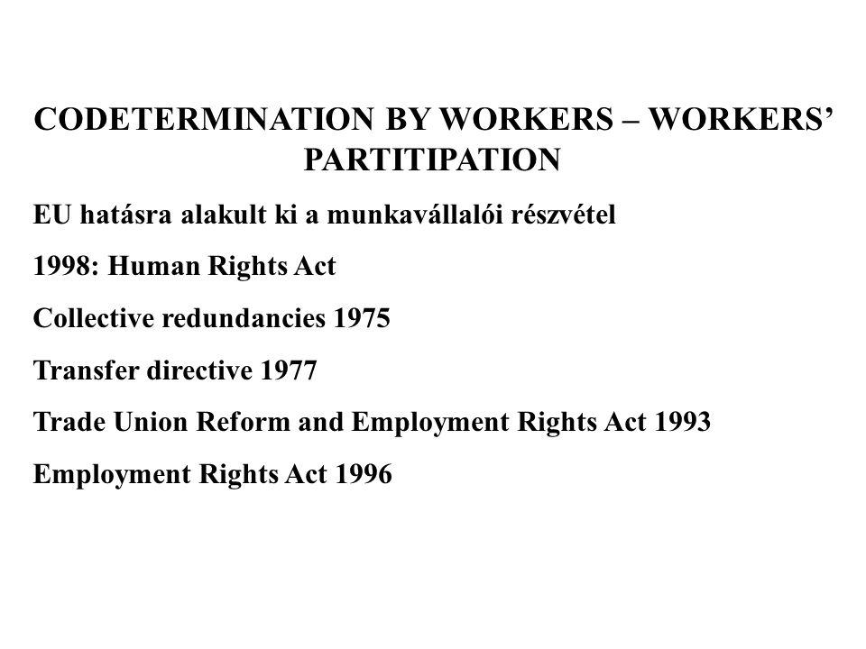 A részvételi jogok főbb területei: - csoportos létszámcsökkentés - kivel kell konzultálnia a munkaadónak.