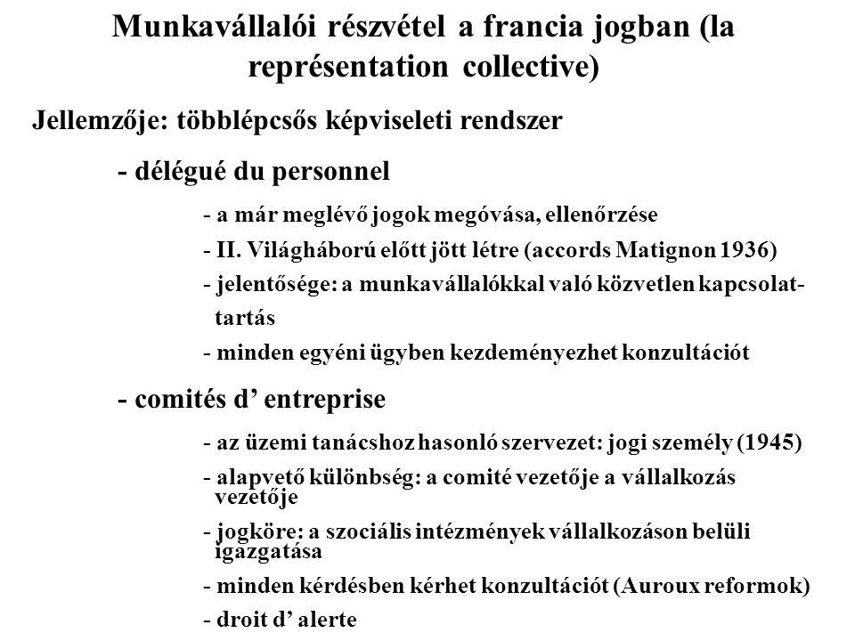 A MUINKAVÁLLALÓI RÉSZVÉTEL INTÉZMÉNYES FORMÁI – NÉMETORSZÁG Részvétel a vállalkozásban: 1976 – Mitbestimmungsgesetz Részvétel a munkáltató döntéseiben: 1972: Betriebsverfassungsg.