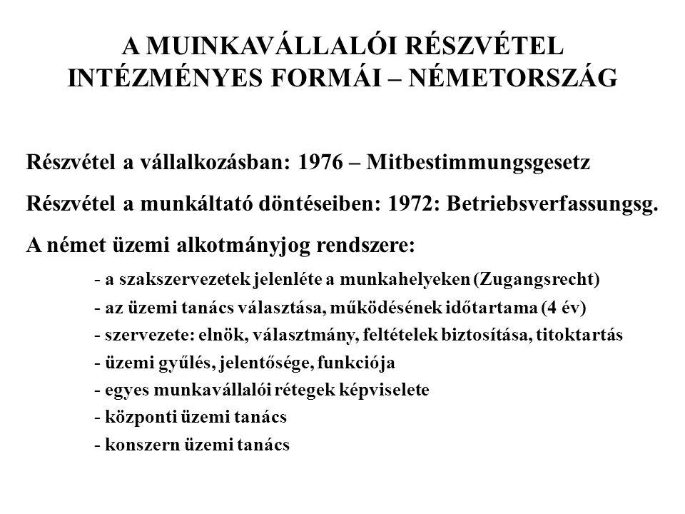 A Betriebsrat jogköre: - kiindulási alap: bizalomteljes együttműködés - kooperáció, belső konfliktusfeloldás (Einigungsstelle) - általános feladat: a munkavállalók panaszjoga - részvétel szociális ügyekben: - Mitbestimmungsrecht (ha nincs jogszabály vagy ksz.) - önkéntes üzemi megállapodás - a munkáltató tájékoztatási kötelessége - részvétel személyzeti ügyekben: - foglalkoztatás biztonsága - kiválasztási irányelvek (Auswahlrichtlinien) : üt.