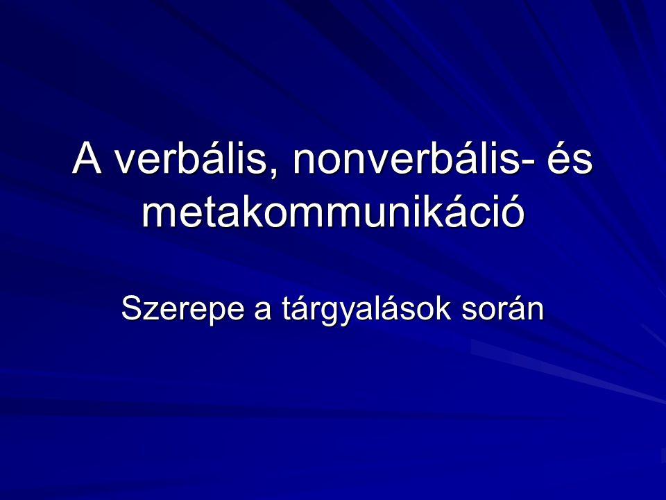 A verbális, nonverbális- és metakommunikáció Szerepe a tárgyalások során