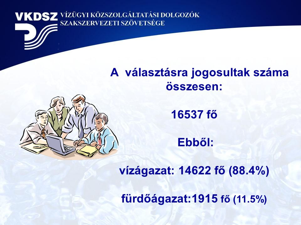 A választásra jogosultak száma összesen: 16537 fő Ebből: vízágazat: 14622 fő (88.4%) fürdőágazat:1915 fő (11.5%)