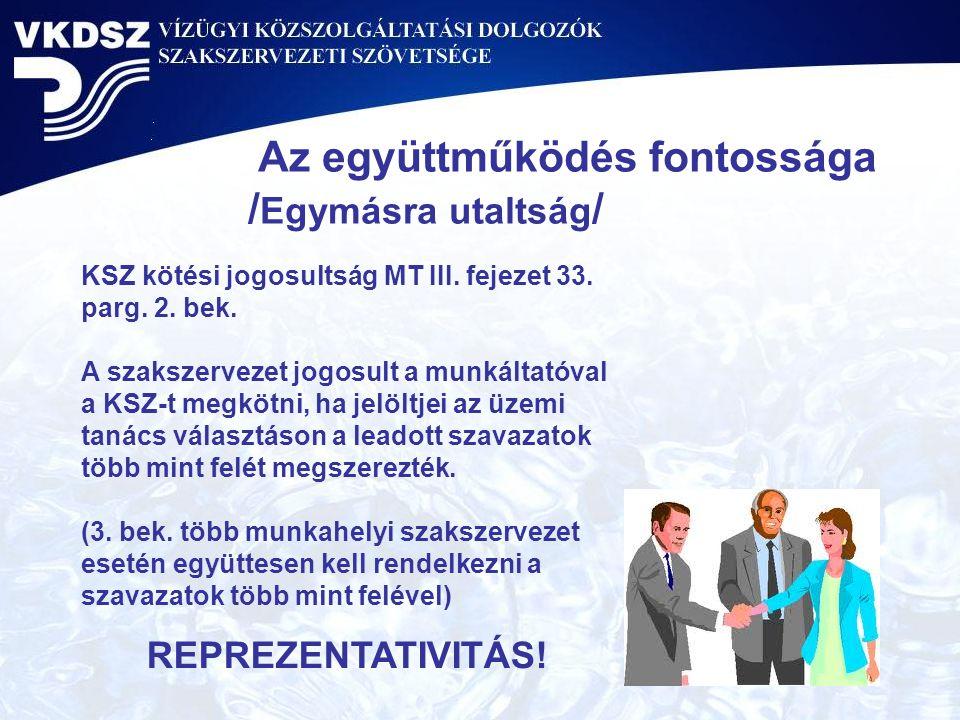 Az együttműködés fontossága / Egymásra utaltság / KSZ kötési jogosultság MT III. fejezet 33. parg. 2. bek. A szakszervezet jogosult a munkáltatóval a