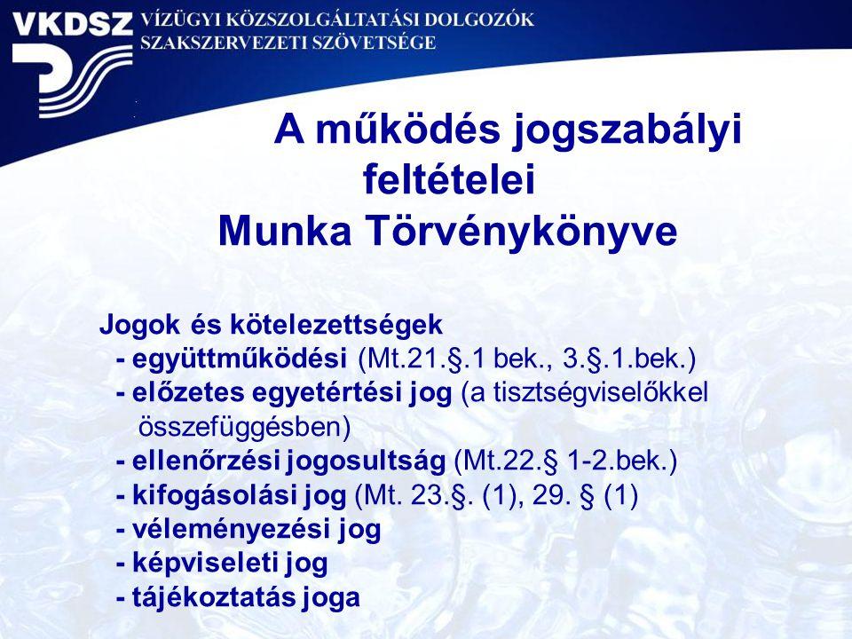 A működés jogszabályi feltételei Munka Törvénykönyve Jogok és kötelezettségek - együttműködési (Mt.21.§.1 bek., 3.§.1.bek.) - előzetes egyetértési jog (a tisztségviselőkkel összefüggésben) - ellenőrzési jogosultság (Mt.22.§ 1-2.bek.) - kifogásolási jog (Mt.