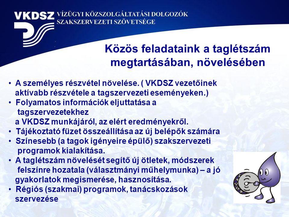 A személyes részvétel növelése. ( VKDSZ vezetőinek aktívabb részvétele a tagszervezeti eseményeken.) Folyamatos információk eljuttatása a tagszervezet
